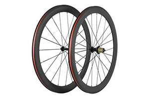 Superteam Carbon Fiber Road Bike Wheels 50mm Clincher Wheelset 700c Racing Bike Wheel (Shimano Body)