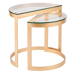LumiSource 2-Pc Nesting Table Set in Gold and Clear Finish