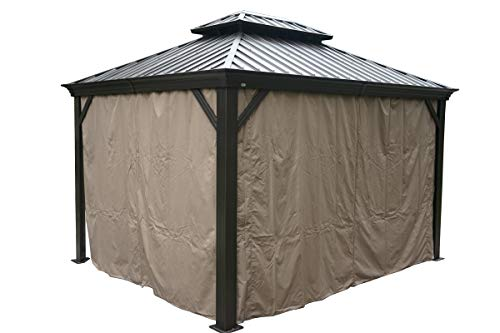 Kozyard Alexander Hardtop Aluminum Permanent Gazebo with a Mosquito Net and Privacy Sidewalls (Alexander 10'x12')