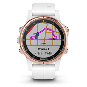 Garmin Fenix 5S Plus Premium Multisport GPS Watch with Maps, Music and Contactless Payments and Wearable4U Ultimate Power Pack Bundle (Sapphire/Rose Goldtone with White Band)