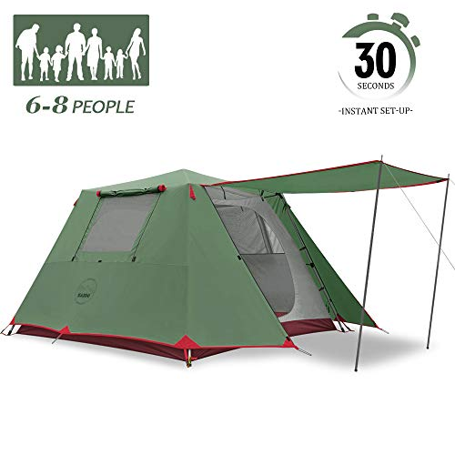 KAZOO Family Camping Tent Large Waterproof Pop Up Tents 6/8 Person Room Cabin Tent Instant Setup with Sun Shade Automatic Aluminum Pole