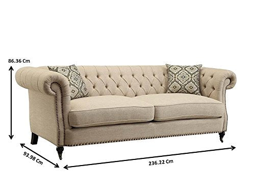 Coaster Trivellato Sofa with Large Rolled Arms and Nailheads Oatmeal Oatmeal/Dark Brown/Traditional