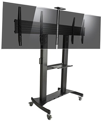 Displays2go EMDB4060BK Dual HDTV Stand with Wheels, Holds 40-60 Inch TV Screens, Height Adjustable