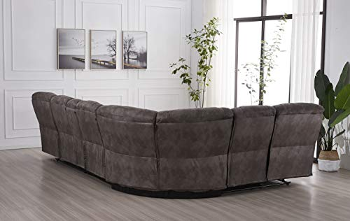 Betsy Furniture Large Microfiber Reclining Sectional Living Room Sofa in Grey 8019 [Left or Right]