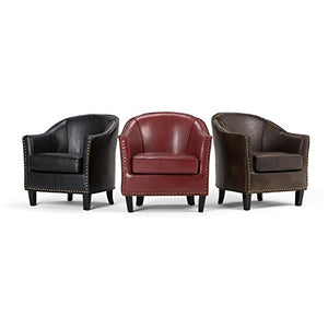 Simpli Home Kildare 29 inch Wide Transitional Tub Chair in Distressed Black Bonded Leather