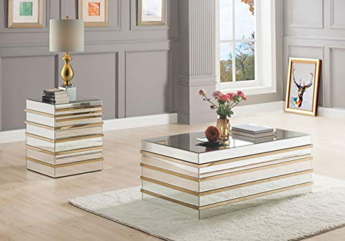 ACME Furniture Coffee Table, Mirrored and Gold