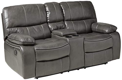 Global Furniture Console Reclining Loveseat, Grey/Black