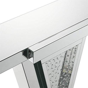 ACME Nysa Console Table - - Mirrored & Faux Crystals