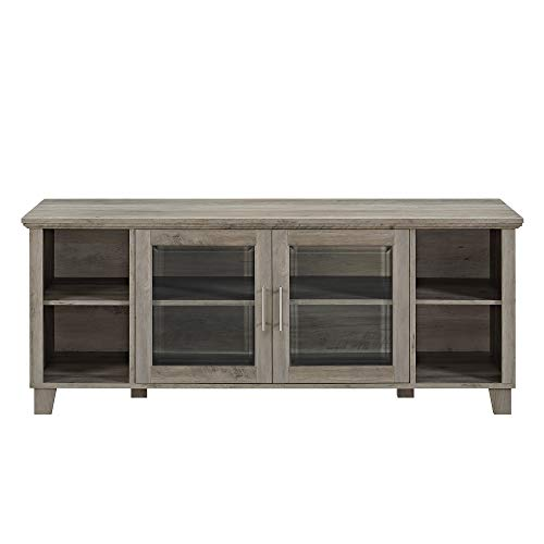 "Walker Edison Furniture Company Farmhouse Glass and Wood Stand with Cabinet Doors for TV's up to 65"" Living Room Storage Shelves Entertainment Center, 58"", Grey Wash"