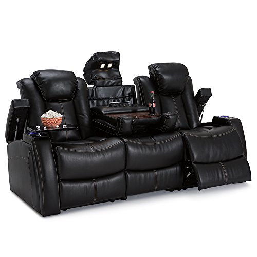 Seatcraft Omega Home Theater Seating Sofa Leather Gel Black Home Theater Seating Media Sofa Power Recline, Power Adjustable Headrest, USB ports, Fold-down Table with Wireless Charging