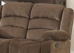 AC Pacific Bill Collection Modern Fabric Upholstered Living Room Reclining Loveseat with Padded Pillow Top Armrests, Brown