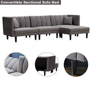 Convertible Sectional Sofa Bed - AiChuangHome SC042 Modern Tufted Velvet Futon Sofa Sleeper with 2 Pillows for Living Room