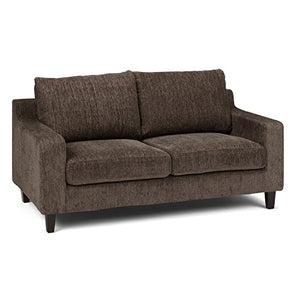 Simpli Home Marisa Contemporary 65 inch Wide Sofa Loveseat in Deep Umber Brown Chenille Look Fabric