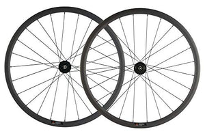 SUPERTEAM Carbon Fiber Disc Brake Wheelset 700c Road Wheel 25mm Width UD Matt 30/40/45/55mm (40mm, CX3 Hub Center Lock 12100-12142mm Thrux Axle)