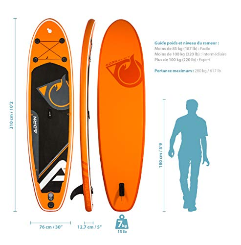Adrenalin Pack Stand up Paddle Cruiser 10'2 (310cm) 30'' (76cm) 5'' (12,7cm) - SUP with Central Bottom fin and Action caméra Mount, Pump, Paddle and Backpack Included