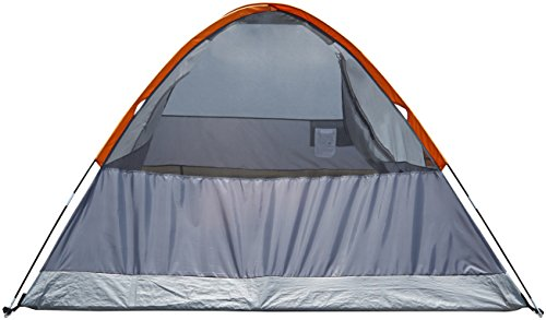 AmazonBasics 4-Person Dome Camping Tent With Rainfly - 9 x 7 x 4 Feet, Orange And Grey