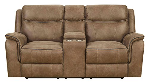 MorriSofa Cameron Dual Reclining Loveseat with Power Adjustable Headrests, 75.25