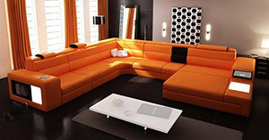 VIG Furniture 5022 Polaris Orange Bonded Leather Sectional Sofa by VIG Furniture