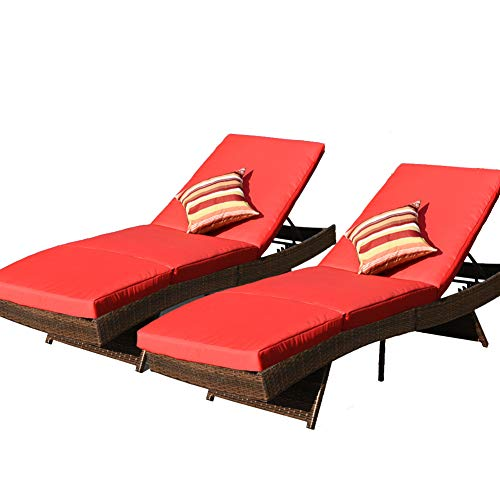Sundale Outdoor 2PCS Deluxe Patio Adjustable Resin Wicker Chaise Lounge Chair Set with Cushions and 2 Throw Pillows (Red)