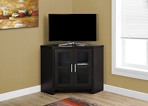Monarch Specialties Cappuccino Corner with Glass Doors TV Stand, 42