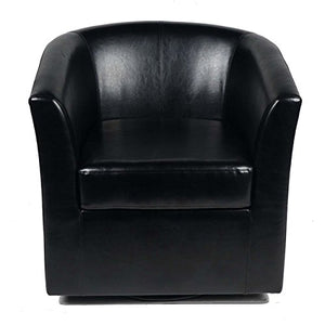 Christopher Knight Home Daymian PU Swivel Club Chair, Black