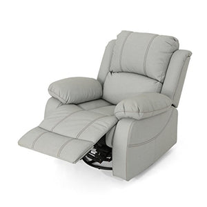 Christopher Knight Home Lilith Gliding Swivel Recliner, Light Grey + Black