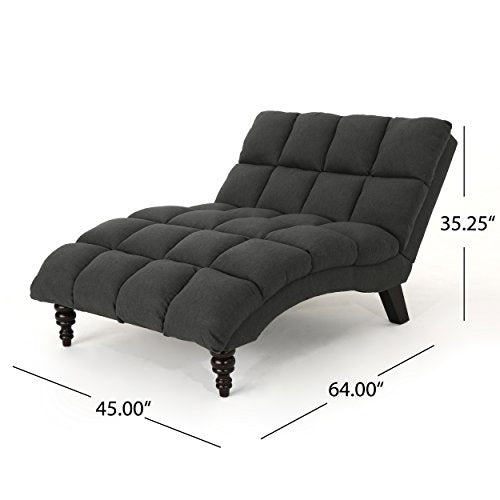 Christopher Knight Home Kaniel Traditional Tufted Fabric Double Chaise, Dark Grey / Dark Espresso