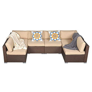 SUNVIVI OUTDOOR Patio Wicker Loveseat, 2 Piece Outdoor Sectional Armless Sofa Additional Furniture Set with Removable Beige Cushions (Brown)