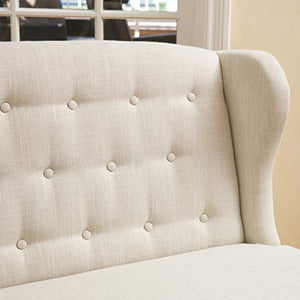 Christopher Knight Home Adrianna Wingback Button-Tufted Fabric Loveseat, Natural Plain