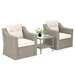 SOLAURA Patio Outdoor 3-Piece Furniture Set Gray Wicker Sofa with Glass-Top Coffee Side Table&Seat Cushions