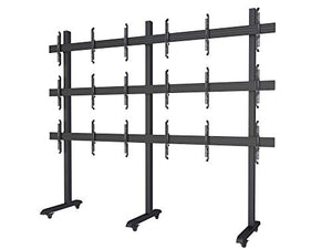 3x3 Video Wall Rolling Mount Cart Display with Micro Adjustment Arms Vesa Universal TV Television