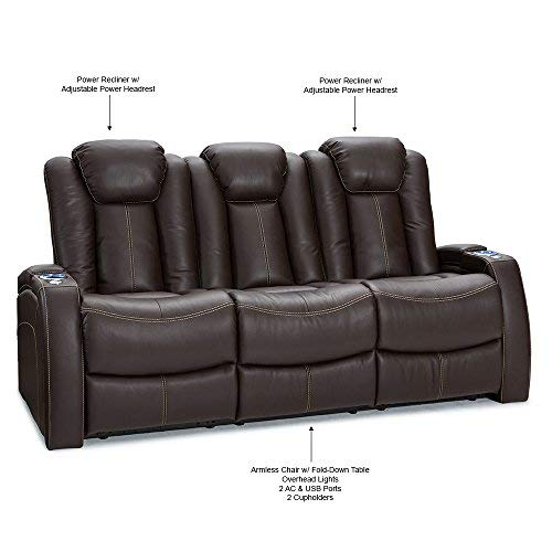 Seatcraft Omega Home Theater Seating - Leather Gel - Power Recline - Power Headrests - AC and USB Charging - Lighted Cup Holders - Fold Down Table (Sofa, Brown)