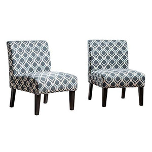 Christopher Knight Home Kassi Fabric Accent Chairs, 2-Pcs Set, Blue / Navy