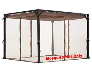 ALISUN Replacement Mosquito Net for Flat-Roof Pergola - Mesh Bug Net Only (8 ft. x 10 ft, Brown)