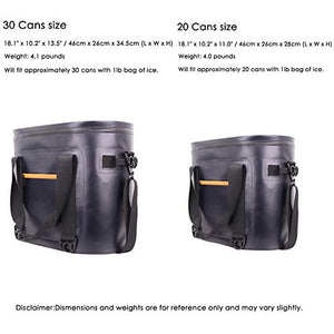 30 Cans Cooler Bag Leak-Proof Soft Sided Pack Cooler Insulated Cooler Bag with Hard Liner and Heavy Duty Waterproof TPU Material for Beach Party, Hiking, Camping and Any Outdoor Activities (Navy Blue)