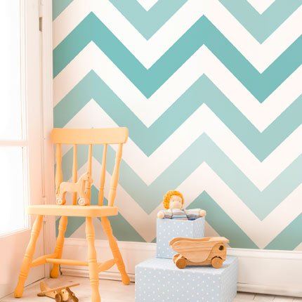 Chevron Teal Removable Wallpaper Tiles - 12 Pack