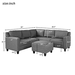 Merax 3 Piece Sectional Sofa, Living Room Furniture Set Sofa Set L-Shape Sofa Set with Storage Ottoman