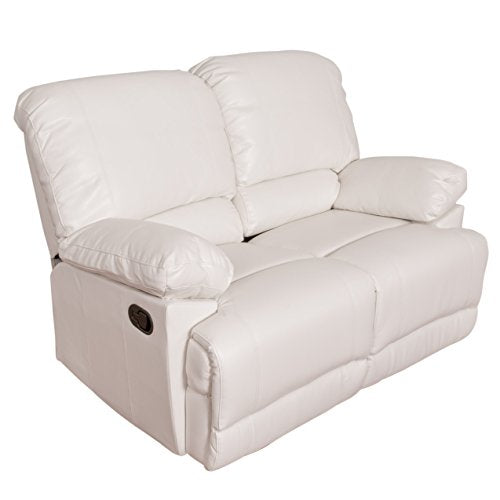 CorLiving Lea Leather Reclining Loveseat White