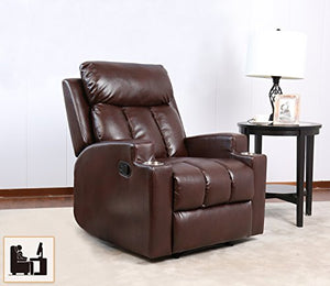 BONZY Contemporary Theater Seating Two Cup Holder Leather Chairs for Modern Living Room Durable Framework, Chocolate Brown