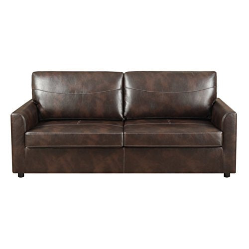 Emerald Home Slumber Coffee Sleeper Sofa with Faux Leather Upholstery And Gel Foam Mattress