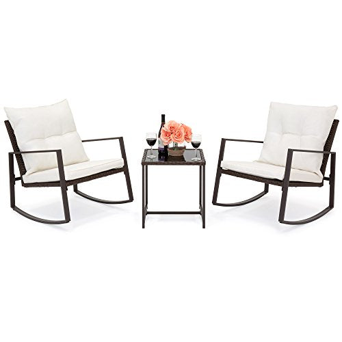 Best Choice Products 3-Piece Wicker Patio Bistro Furniture Set w/ 2 Rocking Chairs and Glass Side Table, Beige