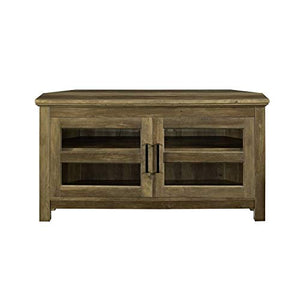 "Pemberly Row 44"" Modern Rustic Farmhouse Corner TV Stand Console with Storage for TV's up to 48"" Flat Screen in Reclaimed Barnwood"