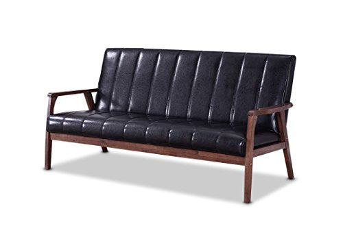 Baxton Furniture Studios Nikko Mid-Century Modern Scandinavian Style Faux Leather Wooden 3 Seater Sofa, Black