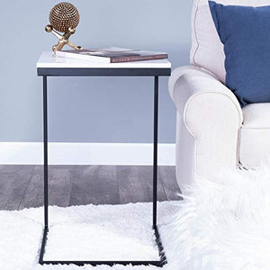 Butler Specialty Company Lawler C-Shape End Table with Industrial Metal Base and Marble Top