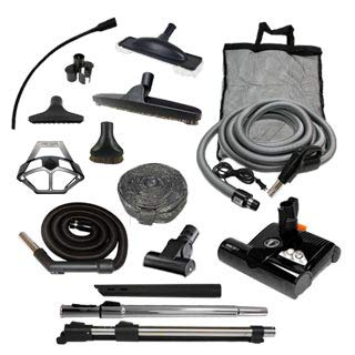 Diamond Central Vacuum Accessory Kit with Sebo ET-2 Powerhead (Pigtail, 30')