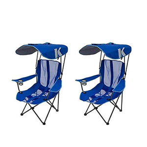 Kelsyus Premium Portable Camping Folding Lawn Chair with Canopy, Blue (2 Pack)