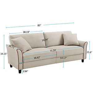 Tribesigns Mid-Century Upholstered 85 Inch Sofa Couch, Modern Linen Fabric Loveseat Couch for Small Space