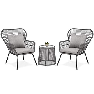 Best Choice Products 3-Piece Outdoor All-Weather Wicker Conversation Bistro Furniture Set w/ 2 Chairs and Glass Top Side Table, Gray