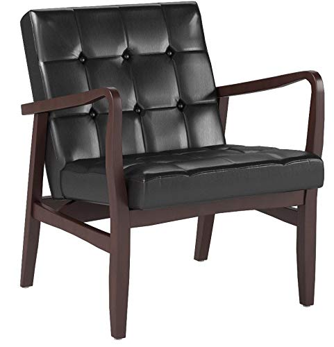 Christopher Knight Home Conrad Mid Century Modern Arm Chair in Black faux Leather