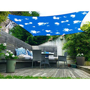Coarbor 12' x 14' Rectangle Sun Shade Sail for Patio Deck Backyard Printed Pattern Shade Cloth Canopy Waterproof Shade Cover Awning UV Blcok 260GSM Polyester 3 Year Warranty